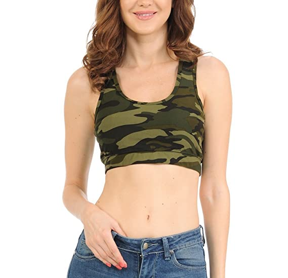 b1319235ce bluensquare Racerback Sports Bra for Women Camouflage Removable Pad Yoga  Gym Fitness Crop Top (