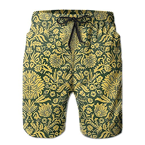 Weiding Men's Victorian Baroque Flower Motifs With Swirl Petals And Branches Print Quick Dry Beach Shorts Casual Comfortable Surf Shorts - Swirl Petals
