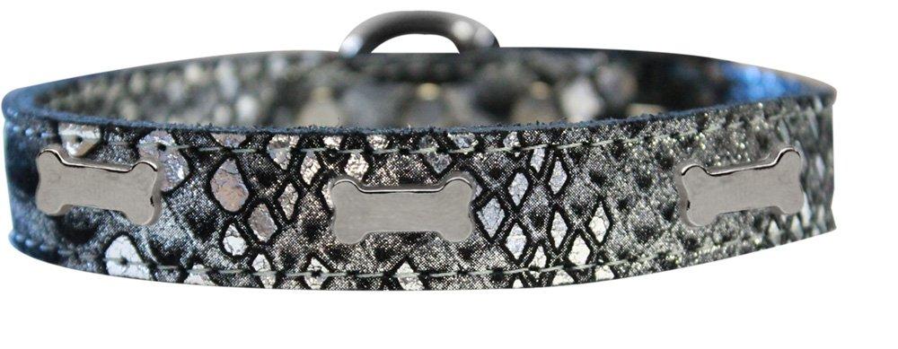 Mirage Pet Products 83-96 SV12 Silver Bone Widget Dragon Skin Genuine Leather Dog Collar, Size 12, Silver