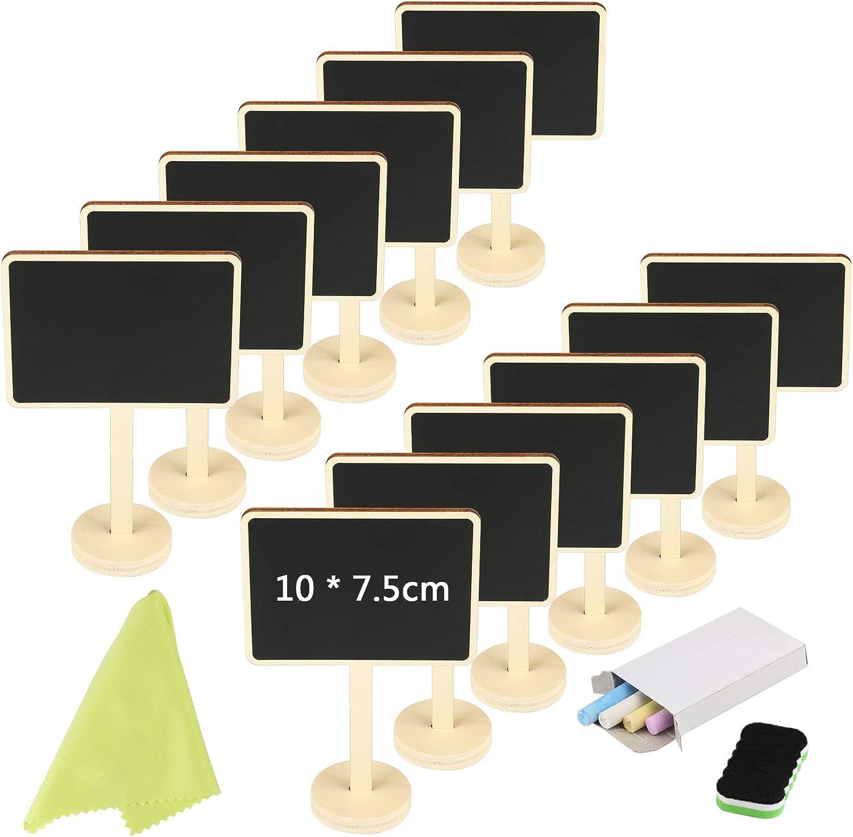 KAKOO 12pcs Pizarra pequeña Vertical Nombre de Mini Pizarra de Madera con Tiza y borrar para mostrador de Precio, candybar de Mesa de Boda, Planta de Nombre
