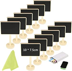 Mini Chalkboard KAKOO 12 Pcs Blackboards Message Board Sign Food Label Place Cards with Stand for Wedding Birthday Parties Tabletop Signs Event Decoration