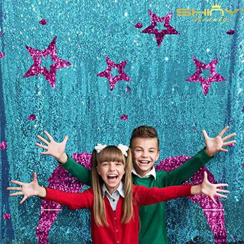 Two Tone Sequin Fabric Backdrop Curtain 4FTx7FT Reversable Aqua&Purple Sequins Mermaid Photo Booth Backdrop -1222