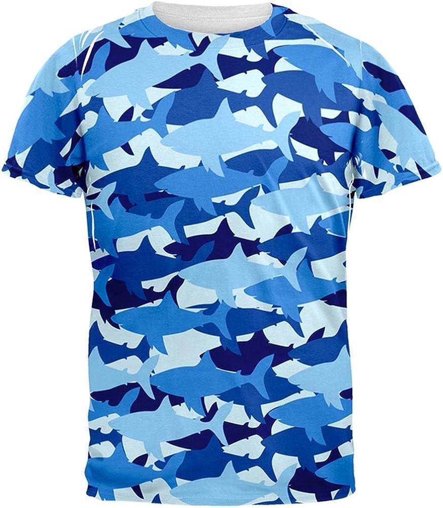 Scuba Diver Shark Mens Short-Sleeve Polo Tee Shirt