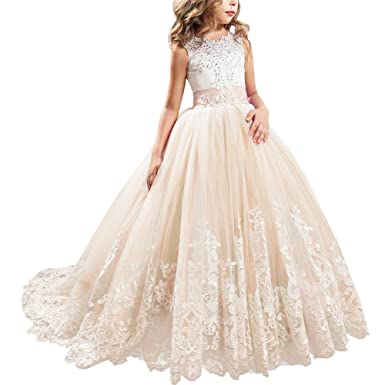bd735632e Flower Girls First Communion Dress Lace Applique Embroidered Kids Princess  Wedding Bridesmaid Floor Length Layered Puffy Tulle Dresses Pageant  Birthday ...
