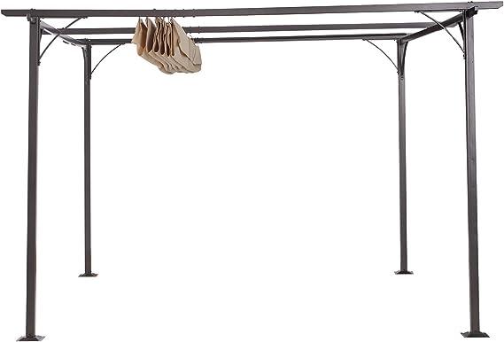 Outsunny Pérgola de Metal 3.5x3.5m Gazebo Cenador para Jardín ...