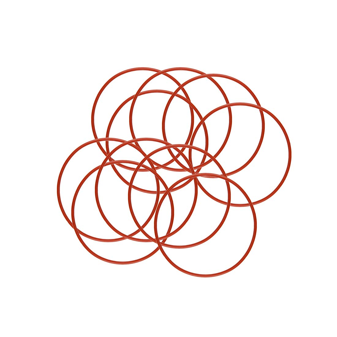 1mm Width VMQ Seal Rings Gasket 4mm OD 2mm ID Red Pack of 10 uxcell Silicone O-Ring