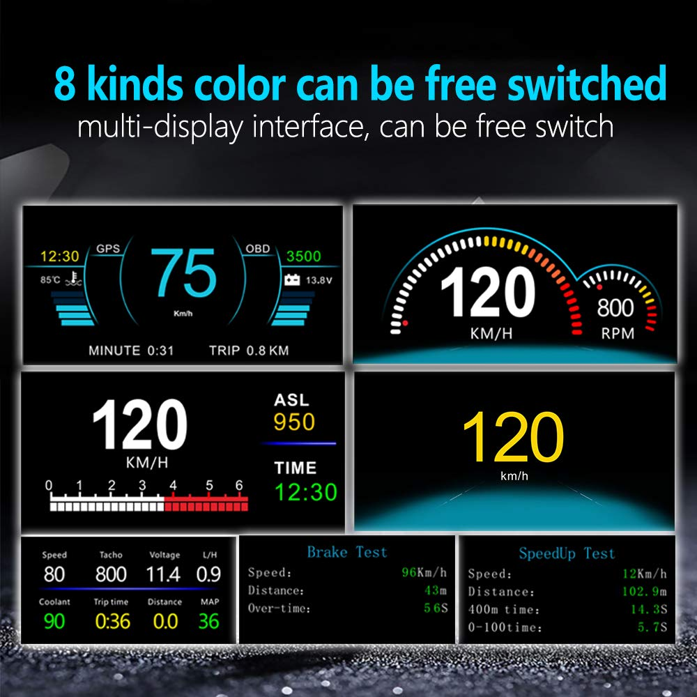 HD Color LCD Display Car HUD Heads up Display OBD2 Fault Code Elimination Car Diagnostic Tools GPS Digital Instruments Compass Speed//Water Temperature//Voltage Display Fault Alarm