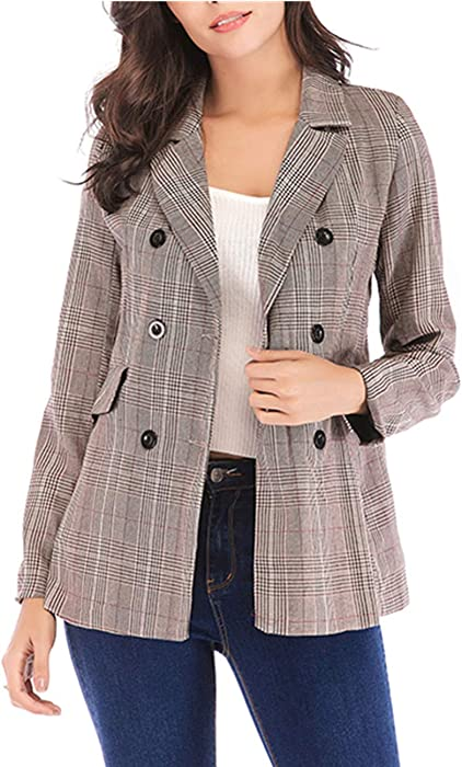 def94aee6c949 SEBOWEL Women s Check Plaid Blazers Jacket Long Sleeve Casual Slim Cardigan  Suit Apricot S at Amazon Women s Clothing store