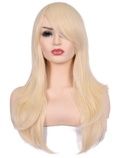 fast delivery buy online huge sale Morvally 23 inches Long Curly Wig Big Wave Heat Resistant Synthetic Hair  with Bangs for Cosplay Costume Halloween Party (613# Light Blonde)