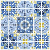 "Ecoart 10"" X 10""Self Adhesive Wall Tile Peel and Stick Tile Bathroom Kitchen Backsplash Sticker (6 Pack) (Blue Pattern)"