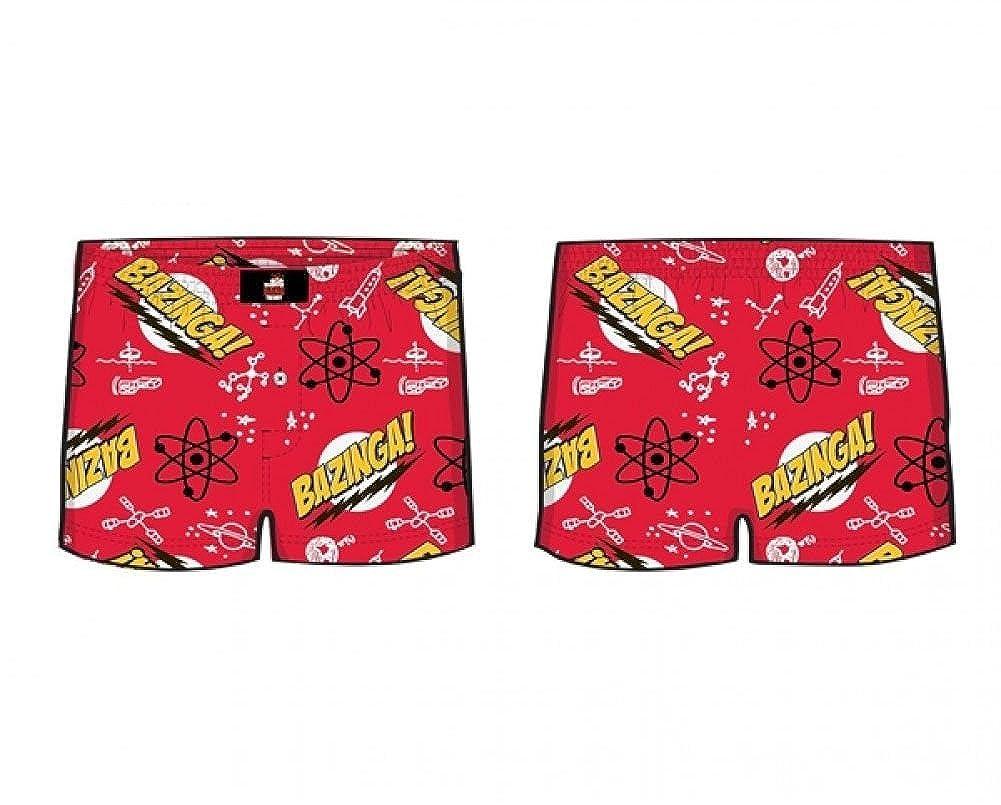 Big Bang Theory Bazinga Pattern Men's Red Boxer Shorts | S Ripple Junction BTAY2296-S