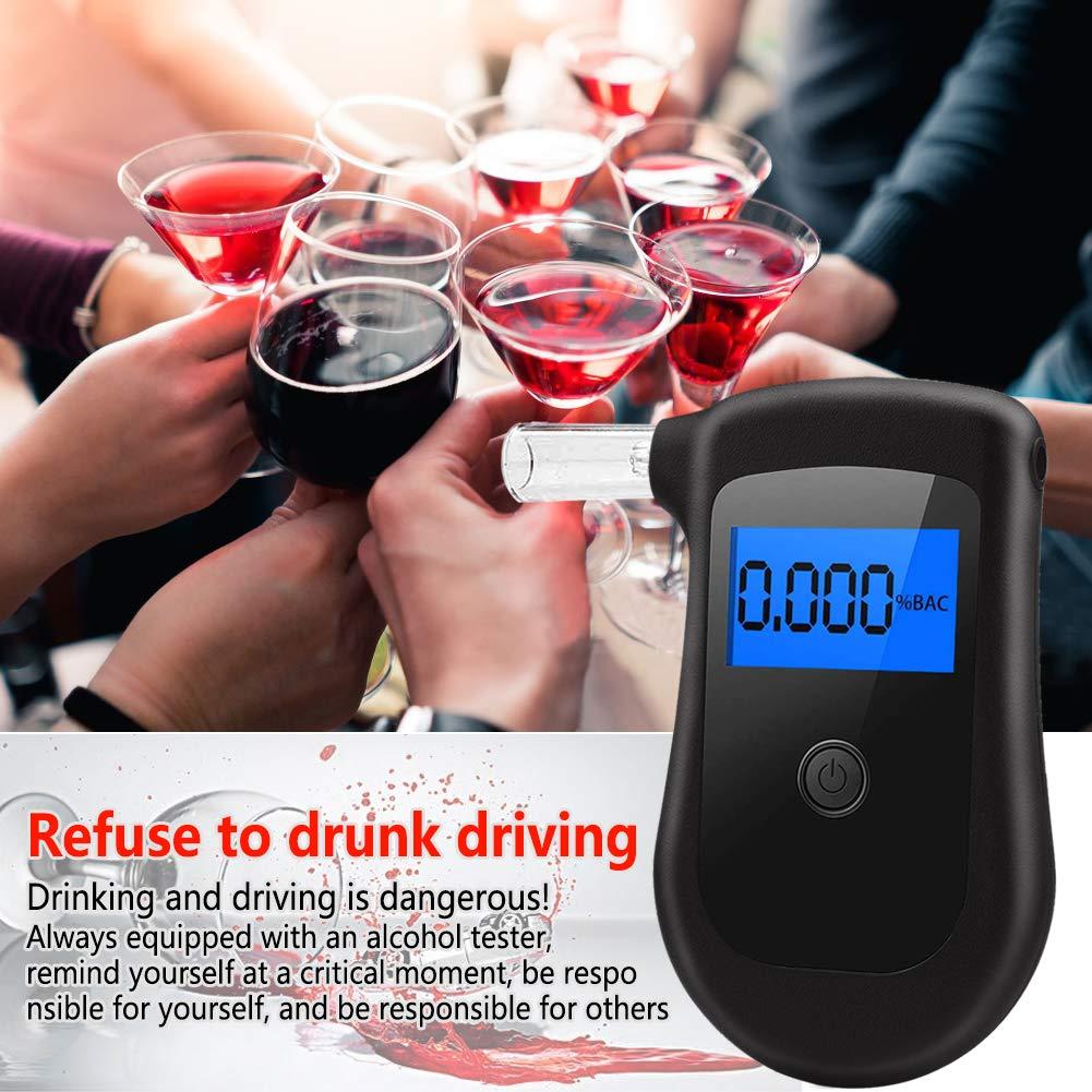 Digitaler Alkohol Tester Tragbares Alkohol-Atemtestger/ät Breathalyzer Promilletester Atemalkoholmessger/ät Polizeigenau mit LCD-Bildschirm Und 4 Mundst/ücken seenlast Alkoholtester