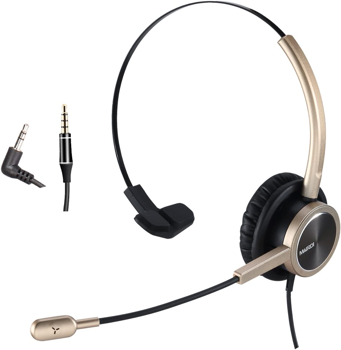 2.5mm Telephone Headset with Noise Cancelling Microphone for Jabra Cisco Polycom Panasonic Zultys Gigaset Including 3.5mm Connector for Mobiles