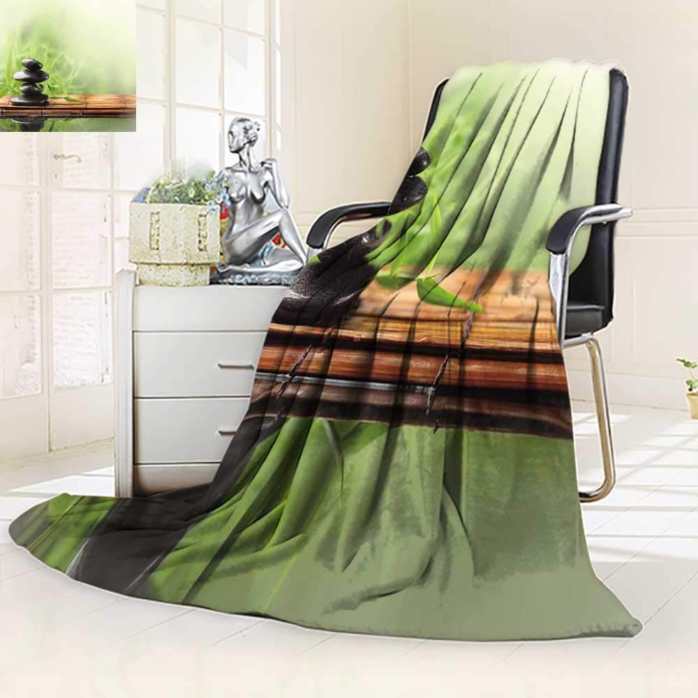 YOYI-HOME Digital Printing Duplex Printed Blanket Spa Still Life with Zen Stone and Bamboo Summer Quilt Comforter/47 W by 59'' H