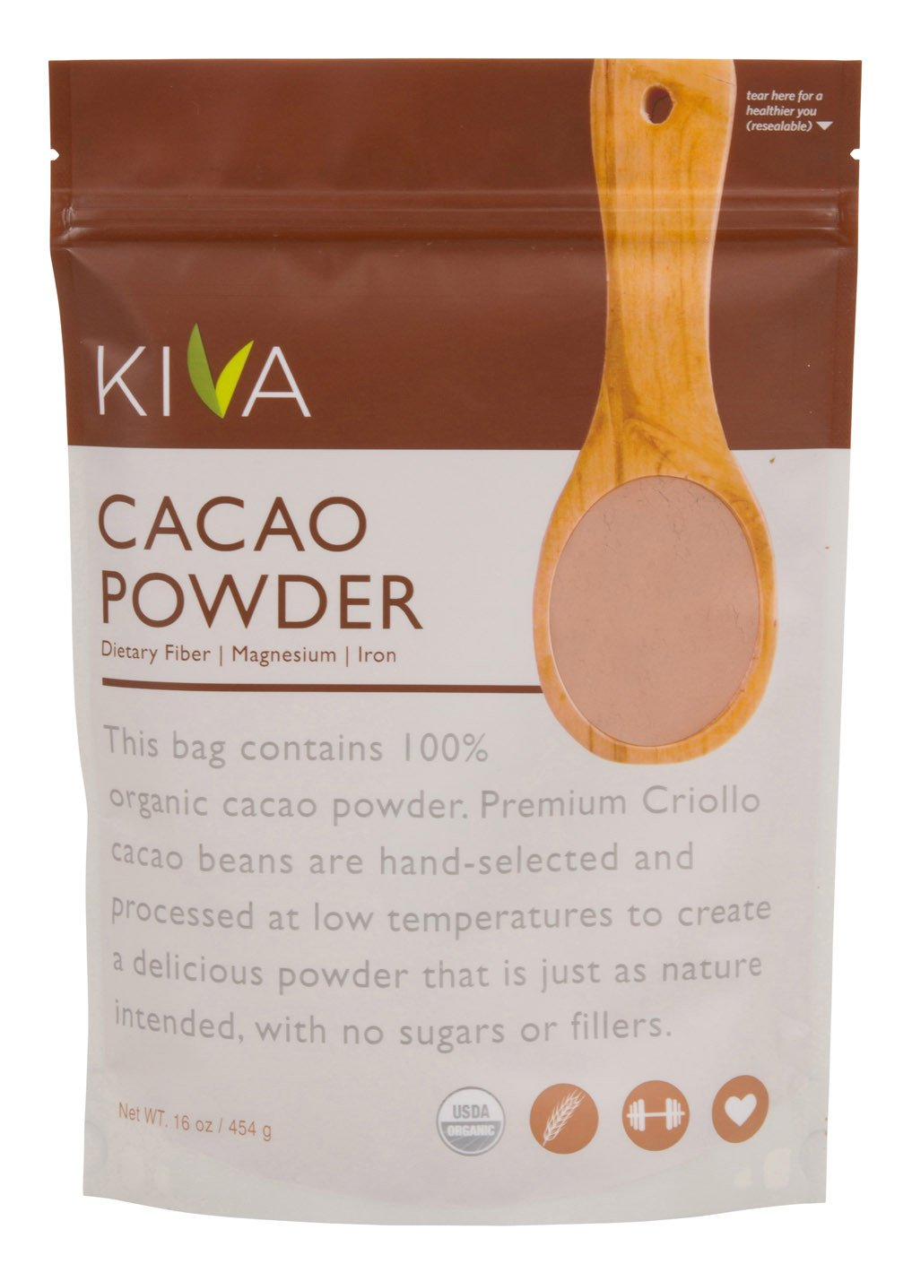 Amazon.com : Kiva Raw Organic Cacao Powder (Unsweetened Cocoa ...