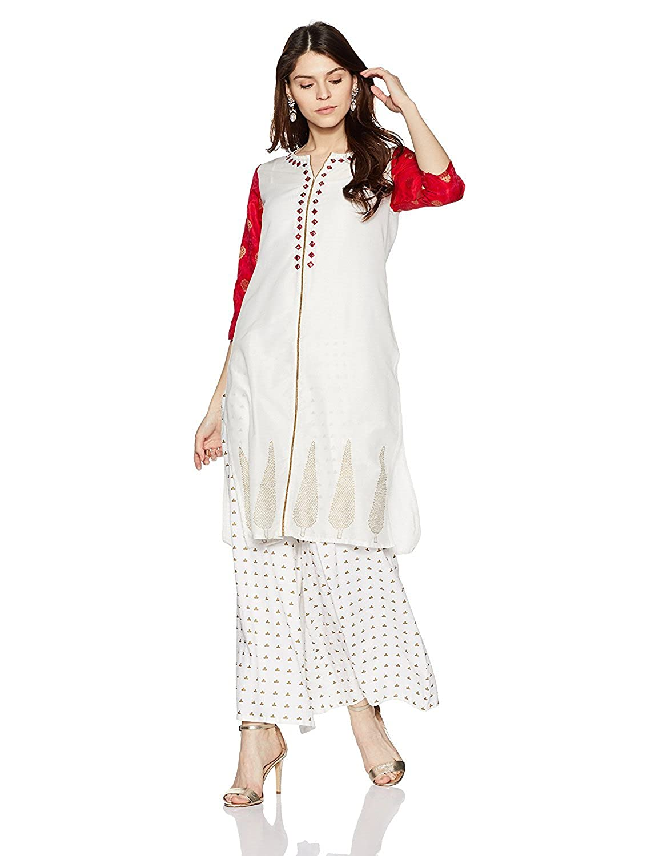 Women Designer White-Red Cotton Kurti Straight Indian Ethnic Kurta Long Dress