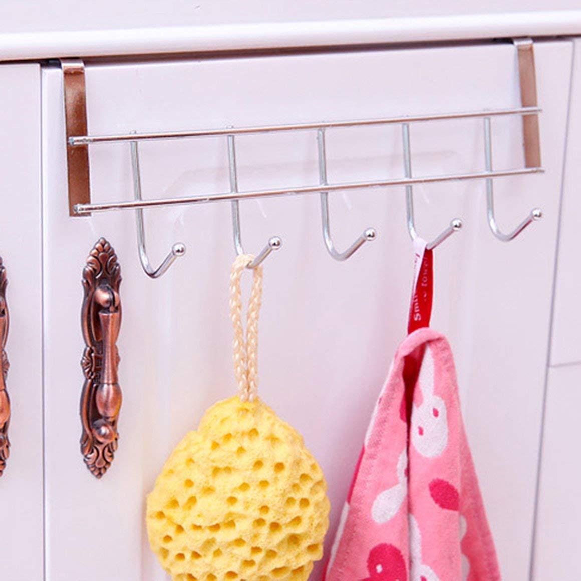 Funnyrunstore 1 pc 5 Ganchos Ropa de Acero Inoxidable Ganchos Puerta Ba/ño Gabinete de Cocina Dibujar Dormitorio Toalla Percha Colgar Loop Organizador
