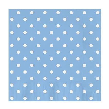Servilletas de papel decoradas con diseño Lunares color Azul Baby - Ideal para fiestas infantiles, baby shower, comuniones o bautizos - 33 x 33 cm - ...