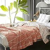 ughome Premium Organic Cotton Throw Blanket for Bed Sofa or Toddler Sleeping Cover Blanket Rug Blankets Travel Meditation Blanket Orange Multipurpose Blankets 59'' X 79''