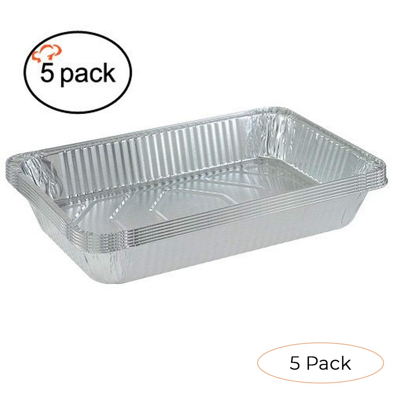 Tiger Chef 5-Pack Durable Aluminum Foil Steam Table Pans Full Size, Disposable 21 x 13 inches (Pack 2)