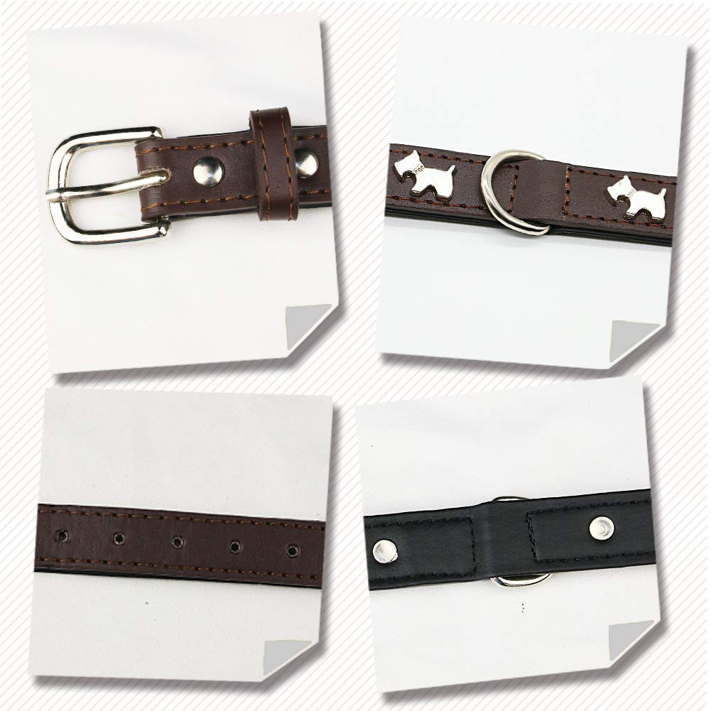 Nuheby Leather Dog Collar Strap Cute Adjustable Small Breed Dog Collar (Brown)