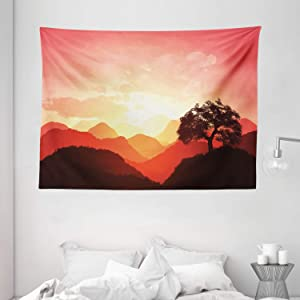 """Ambesonne Mystic Tapestry, Oriental Sunset View with Tree and Mountains Mystique Hills, Wide Wall Hanging for Bedroom Living Room Dorm, 80"""" X 60"""", Brown Orange"""