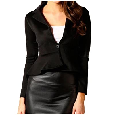 Abetteric Women's Deep V Neck One Button Ruffle Irregular Slim Fit Suits