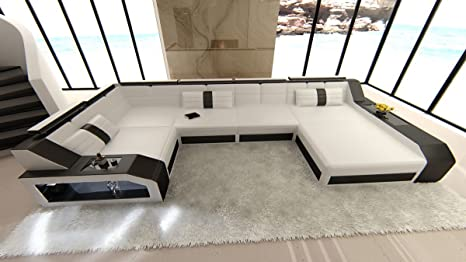 Cuero Conjunto de Muebles Para Salón Arezzo en forma de U ...