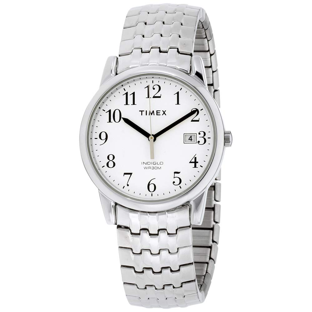 Timex Men's T2P294 Easy Reader Dress Silver-Tone Stainless Steel Expansion Band Watch