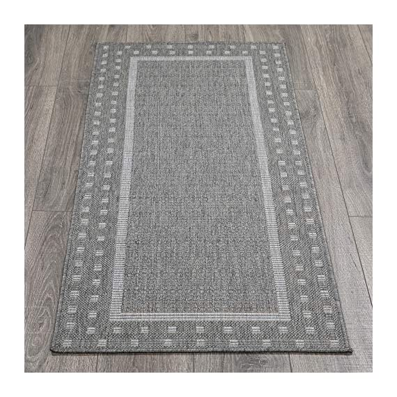 """Ottomanson Jardin Indoor/Outdoor Bordered Runner Rug, Gray, 2'X5', 20"""" x 59"""", Grey - VERSATILE: Robust construction makes it ideal for high-traffic areas indoor or outdoor. DURABLE and LONG LASTING: Power-loomed in Turkey with %100 polypropylene. LOW-PILE HEIGHT is non-shedding and ideal for homes with pets and high-traffic. - runner-rugs, entryway-furniture-decor, entryway-laundry-room - 61FJVCxShIL. SS570  -"""