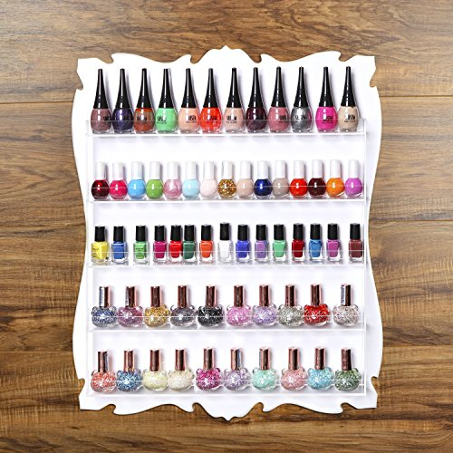 60 bottle 5 tier wall mounted shabby chic salon white for Acrylic nail salon prices