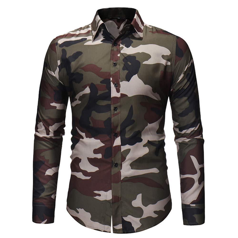 Mens Winter Camouflage Casual Long Sleeve Men Blouse,Dartphew Winter Top