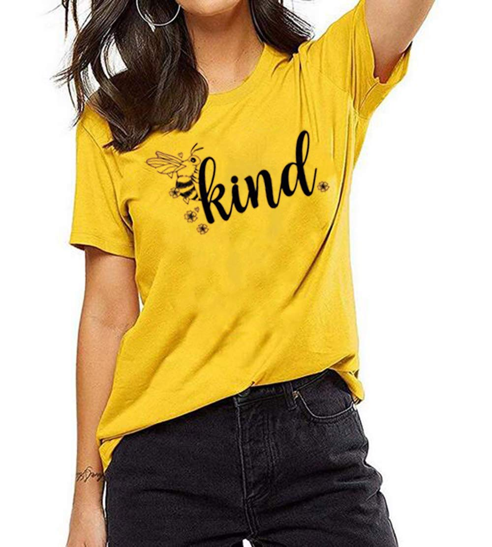 Bee Kind Women Inspirational Teacher Tops Casual Short Sleeve With Saying Shirts