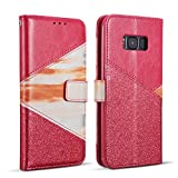 ZCDAYE Wallet Case for Samsung Galaxy S6,Premium Bling Glitter [Magnetic Closure] PU Leather [Ceramic Pattern] Stand Soft TPU with [Card Slots] Flip Cover for Samsung Galaxy S6 - Red