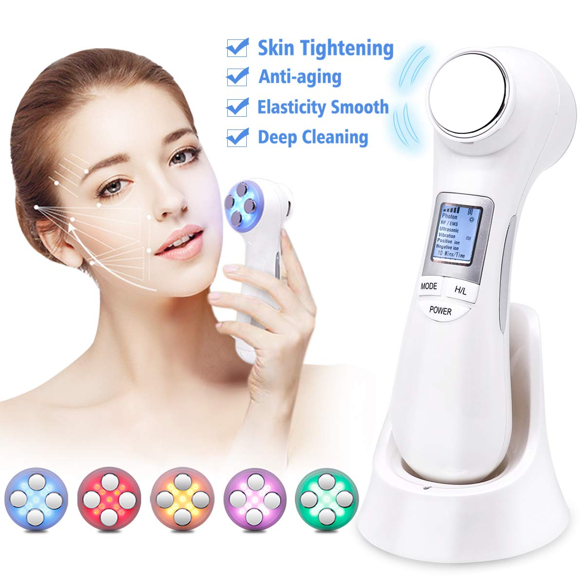 Face Firming Machine Multifunctional Skin Tightening Device High Frequency Vibration Facial Machine for Lifting Whitening Deep Cleaning Color Lights Portable Rechargeable Skin Care Beauty Instrument