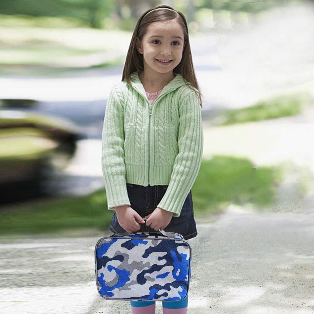 Camuflaje Camuflaje Bolsa de Almuerzo con Aislamiento para ni/ños a Viajes Escolares Bolsa de enfriamiento Totalizador del Almuerzo con Correa para el Hombro WHT Bolsa de Almuerzo para ni/ños
