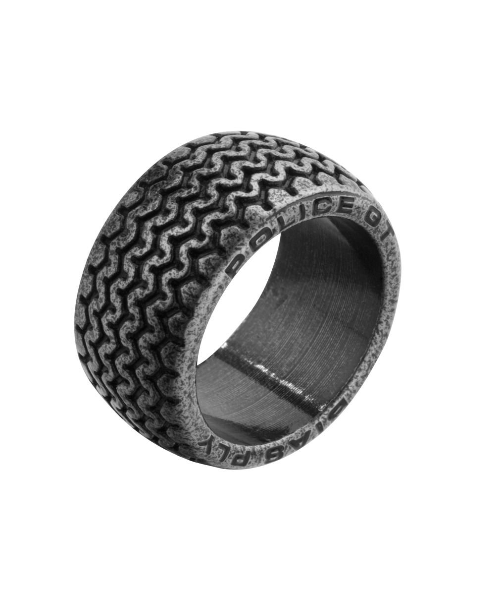 Police ''Burnout'' Tire Pattern and Engrave Logo Stainless Steel Ring, Size 10.5 by Police