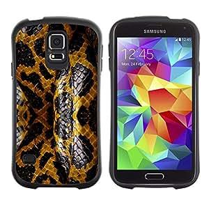 Suave TPU Caso Carcasa de Caucho Funda para Samsung Galaxy S5 SM-G900 / Snake Skin Reptile Pattern Golden Black / STRONG