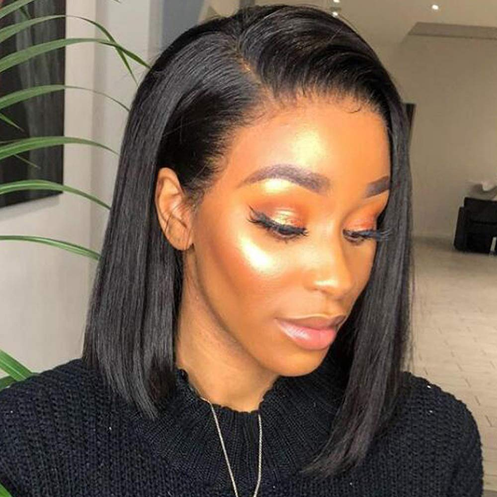 Amazon Com Short Human Hair Lace Front Bob Wigs Side Part 360 Lace Frontal Wigs With Baby Hair Natural Color Glueless Human Hair Wig Straight Hair 130 Density 10 Inch 360 Lace Frontal Wig Beauty