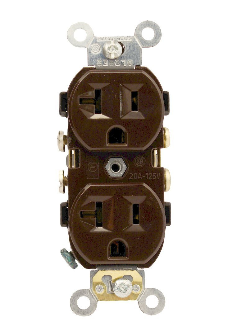 Brown Leviton CR20-S 20-Amp Straight Blade 10-Pack Piece 125 Volt Self Grounding Narrow Body Duplex Receptacle