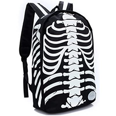 PinRoad Fashion Skull Skeleton Backpack Canvas Rucksack for Students