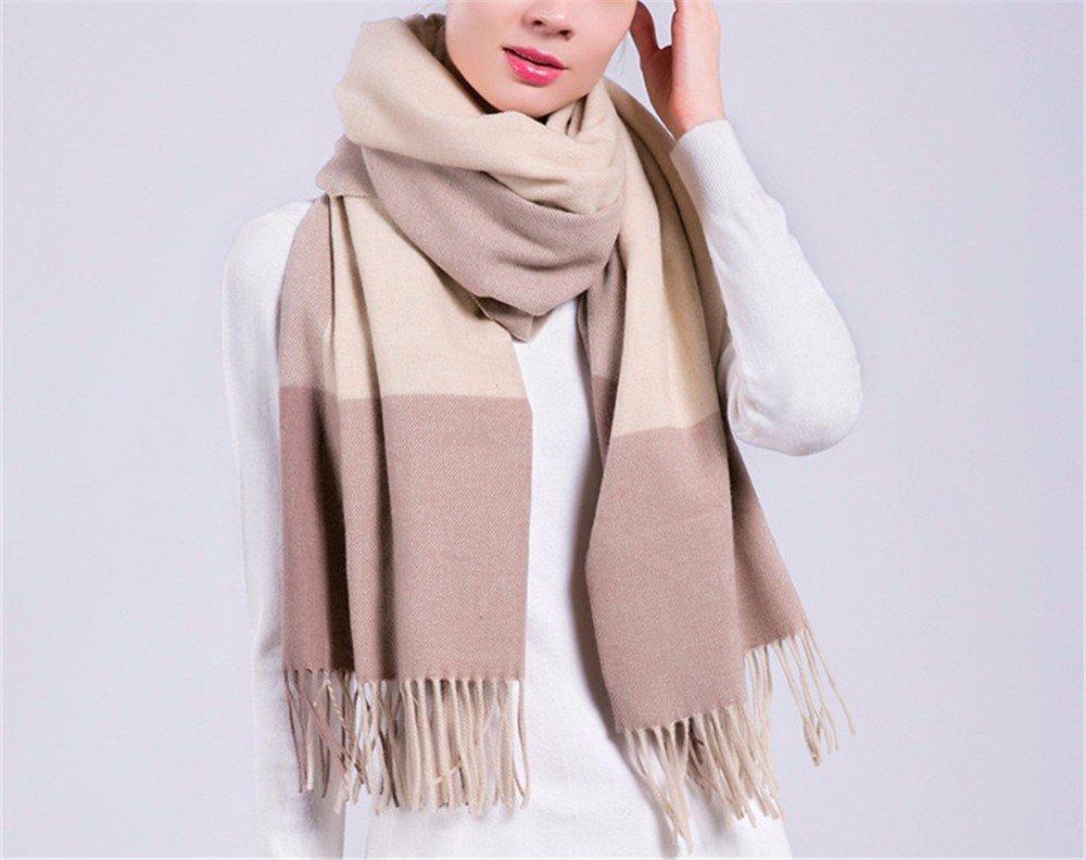 DIDIDD Scarf-madam bufanda de lana de otoño e invierno tela escocesa engrosamiento aislamiento térmico chal de cachemira multifuncional,C