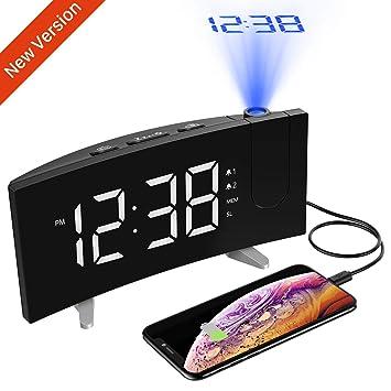 Holife Radio Despertador Proyector, Despertador Digital Proyector, Fácil de Operacion, Radio FM,