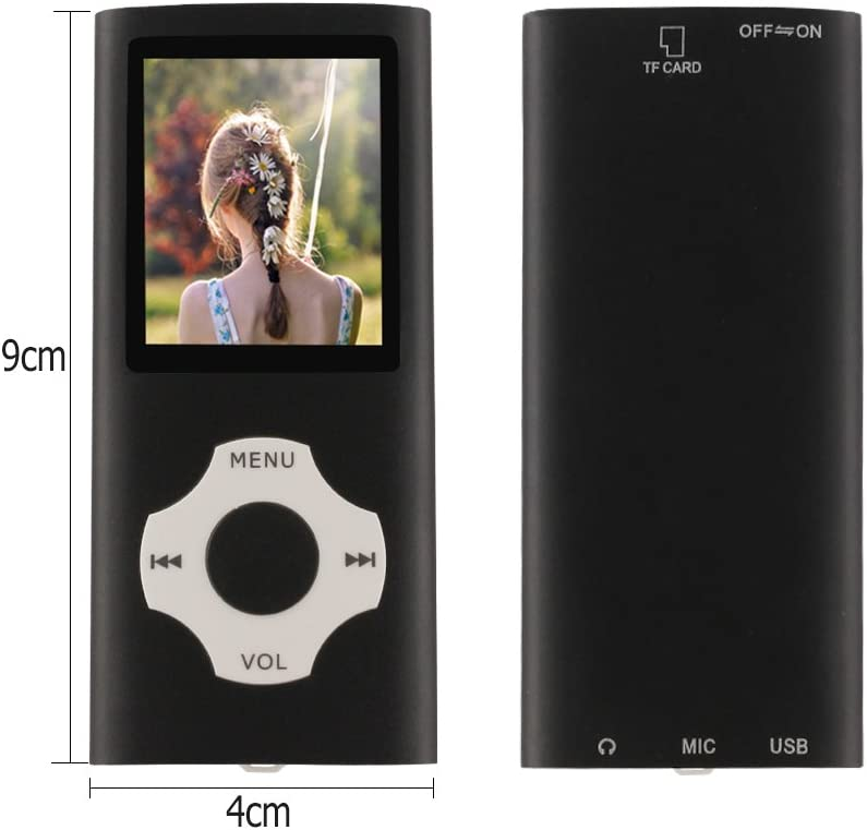 Pantalla de 1,8 Pulgadas de M/úsica,Plata de M/úsica Digital Port/átil//de Video//Lector de Libros Electr/ónicos//Visualizaci/ón de Im/ágenes Ueleknight Reproductor de MP3 MP4 con Micro SD de 16G