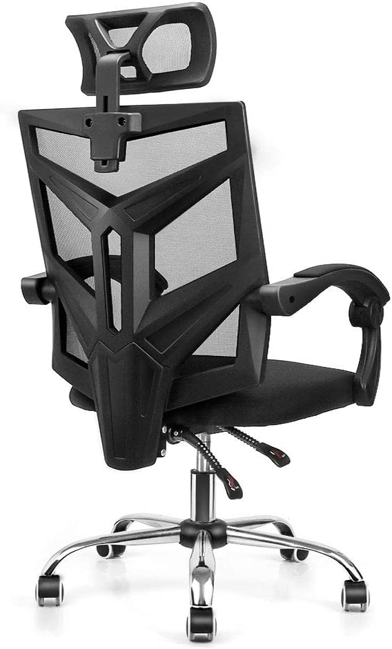 Ergonomic High Back Mesh Office Chair, Fansee Home Office Computer Desk Chair Swivel Task Chair with Breathable Seat Cushion, Adjustable Headrest, Seat Height and Armrests – Black
