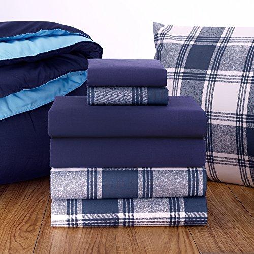 Campus Linens 16 Piece Starter Pak Navy Plaid Twin XL College Dorm Bedding and Bath Set