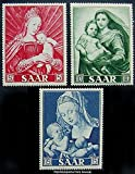 Saar Scott 250-252 5F Madonna and Child by Holbein, 10F Sistine Madonna by Rapael and 15F Madonna and Child with Pear by Durer Promulgation of the Dogma of the Immaculate Conception. Mint never hinged