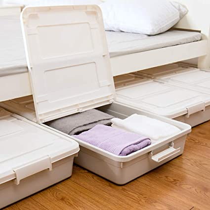 Amazoncom 3 Pack Large Rolling Under Bed Storage Bin With Wheels