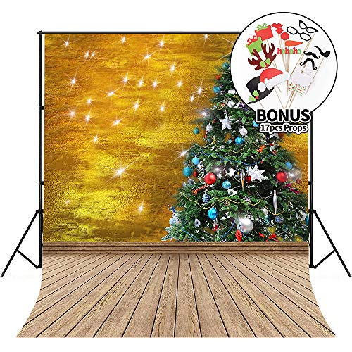 Christmas Backdrops with Photo Booth Props, 7X5ft Photography Background for Photo StudioChristmas Tree with Gifts and Twinkling Star Lightas -