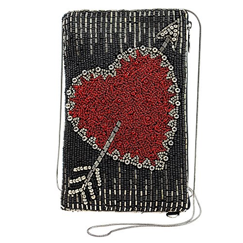 Beaded Cell Phone Case - MARY FRANCES Beaded Crossbody Phone Bag (Heart of the Matter)